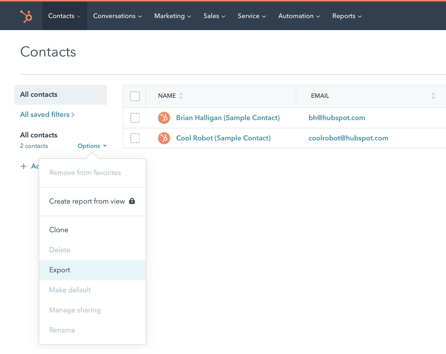 Export HubSpot Contacts
