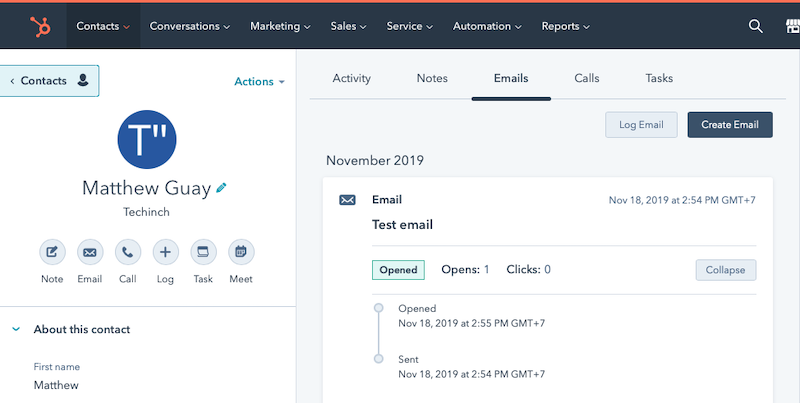Tracking email opens inside HubSpot