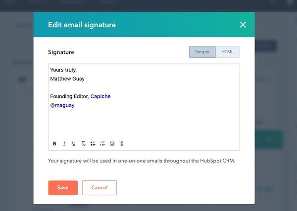 HubSpot email signature editor