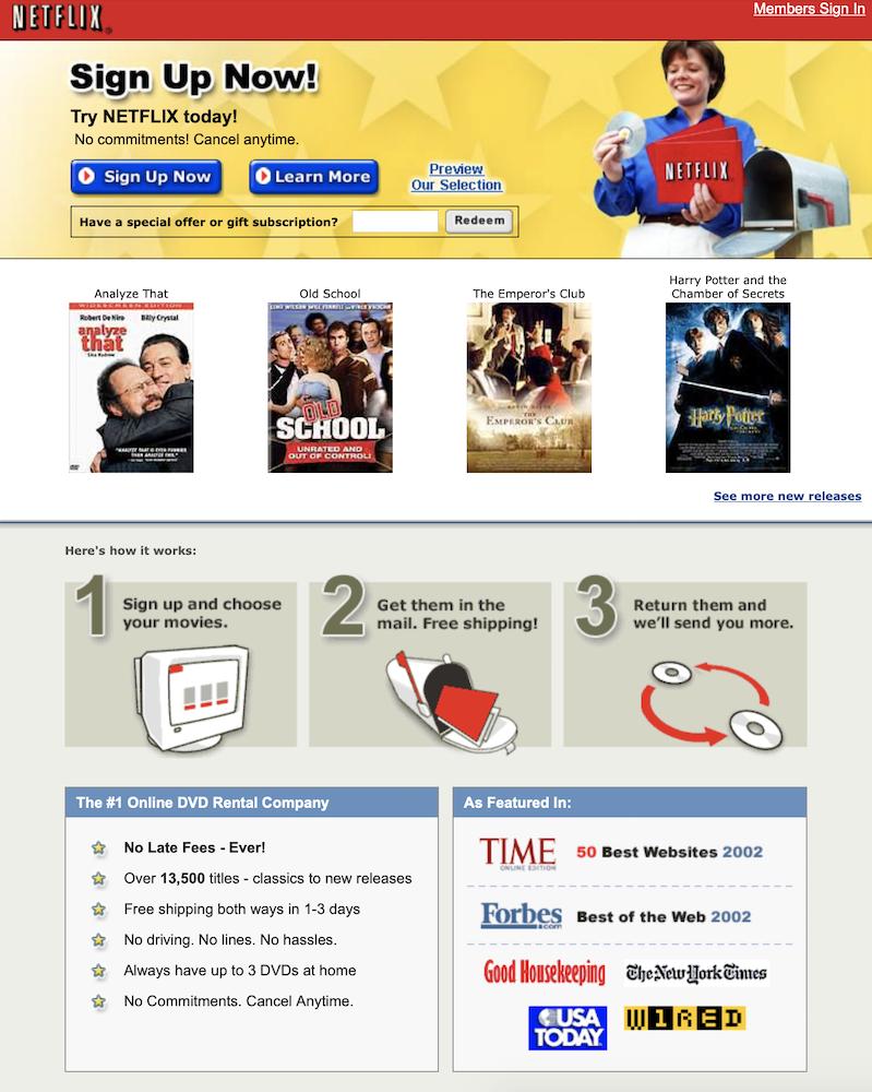 Netflix 2003 Landing Page