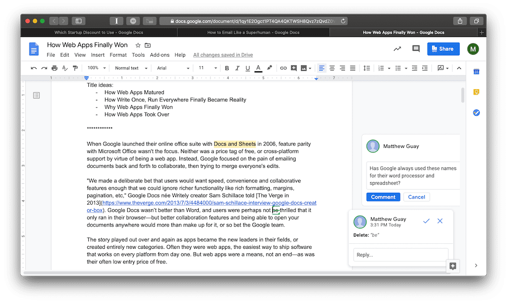 Google Docs collaboration screenshot