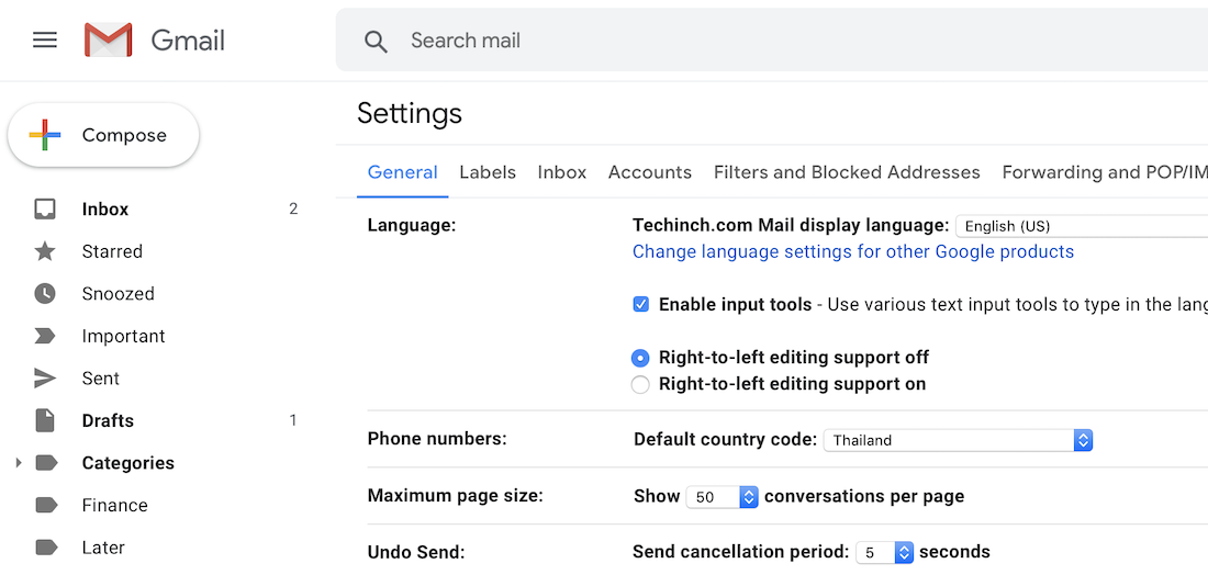 Undo send time setting in Gmail