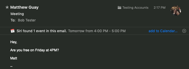 Apple Mail add events to calendar